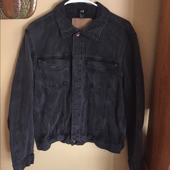 H M Jackets Coats Hm Mens Black Denim Jacket Poshmark